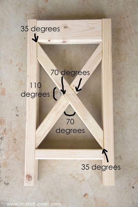 Explanation of degrees on X furniture #DiyWoodProjectsEasyWoodworkingPlans #woodfurnitureplans
