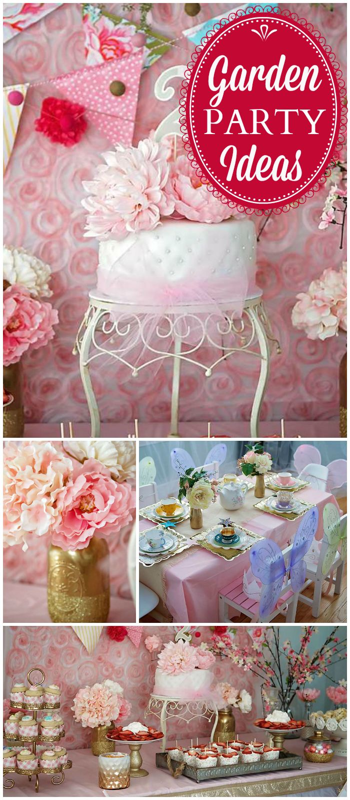 Such a gorgeous garden tea party! You have to see the decor! See more party ideas at CatchMyParty.com!