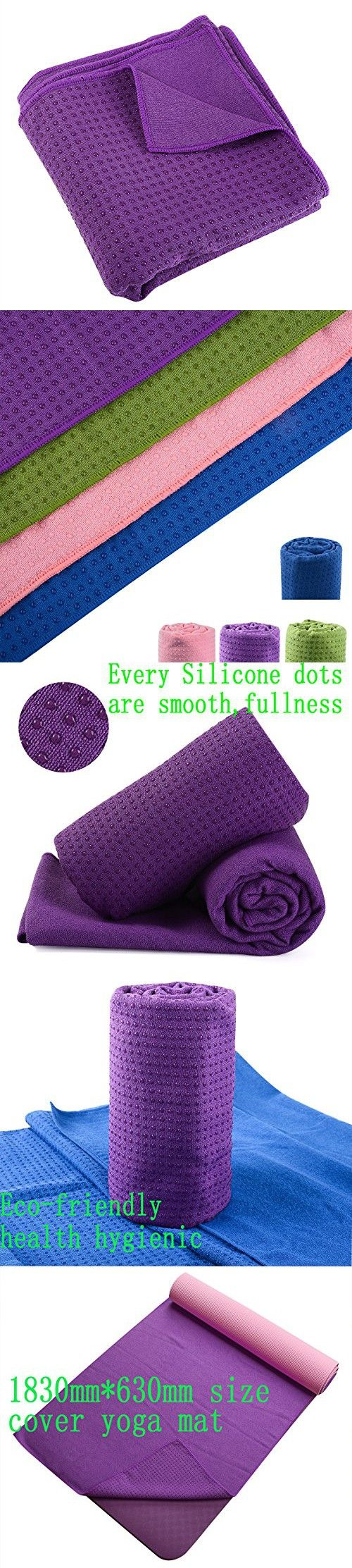 """Yoga Mat Towel 100% Microfiber with Silicone Beads Purple(72""""x26"""") Ultra Absorbent Anti-slip Fast Drying with Ultra Firm Grip for Hot Yoga Pilates Workout Exercise with Free Carry Bag"""