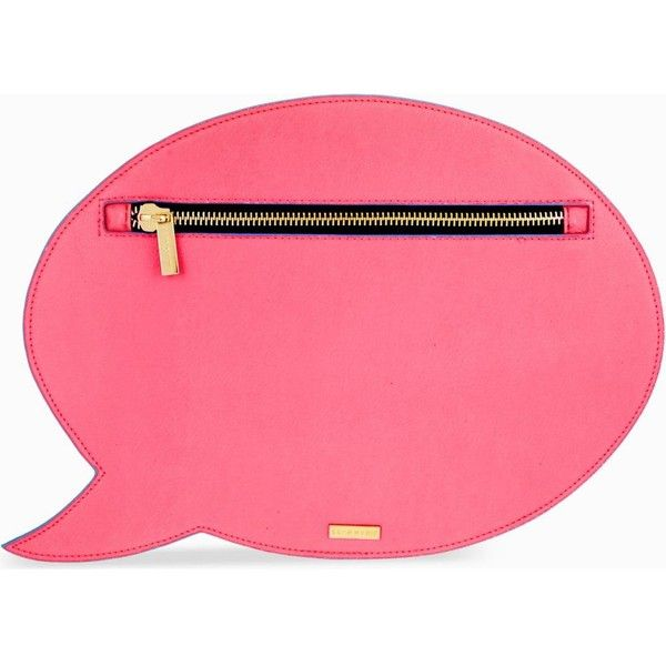 SKINNY DIP Speech bubble clutch found on Polyvore featuring bags, handbags, clutches, pink, purse, pink leather purse, pink handbags and real leather purses