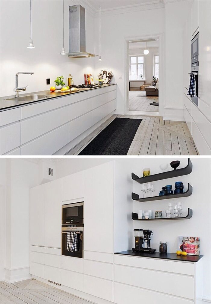 {Me} I really like white kitchen as a blank canvas. On top- black accents and yellow drops.