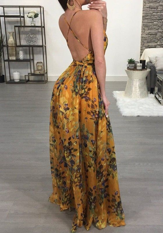 7fdcdb89520f Yellow Draped Spaghetti Strap Backless Deep V-neck Flowy Bohemian Vegas  Maxi Dress - Maxi Dresses - Dresses