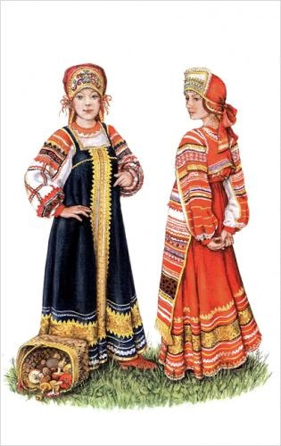 Drawing of two girls in folk clothing from the Ryazan region.