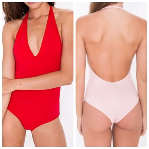 American Apparel Halter Leotard Red Bodysuit BRAND NEW - NEVER WORN! In shipment plastic bag! Hygienic liner still attached!   Red halter bodysuit featuring a low cut V-neck and open back and cute little cheeky bottom  RUNS SMALL for a medium   Purchased for a Halloween costume but I ended up finding a skirted dress instead & cannot return this item at American Apparel because of their policy    • Cotton/Spandex Jersey (95% Cotton / 5% Elastane) construction • Medium is approximately 31…