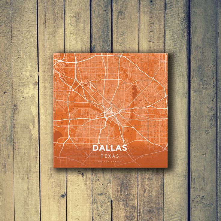 Houston Map Framed%0A Gallery Wrapped Map Canvas of Dallas Texas  Modern Burnt  Dallas Map Art