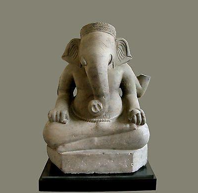 An Important Khmer stone Ganesh figure, Koh Ker 10Th C