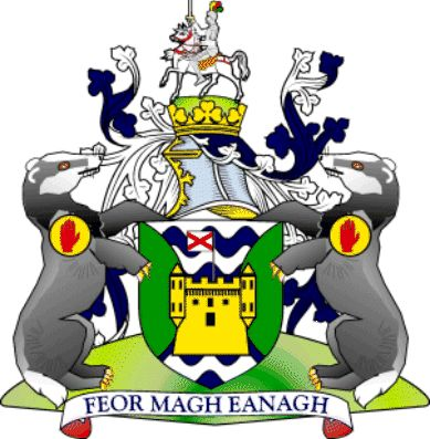 Coat Of Arms: County Fermanagh is one of the six counties of Northern Ireland. It is within the historical province of Ulster.    The county is mainly rural and is dominated by two connected lakes: Upper and Lower Lough Erne. It covers a land area of 1,700 km² (656 sq; mi) and a total area (including water) of 1,851 km² (715 sq; mi), with a population of about 57,527. The biggest settlement is the county town of Enniskillen, in the middle of the county.