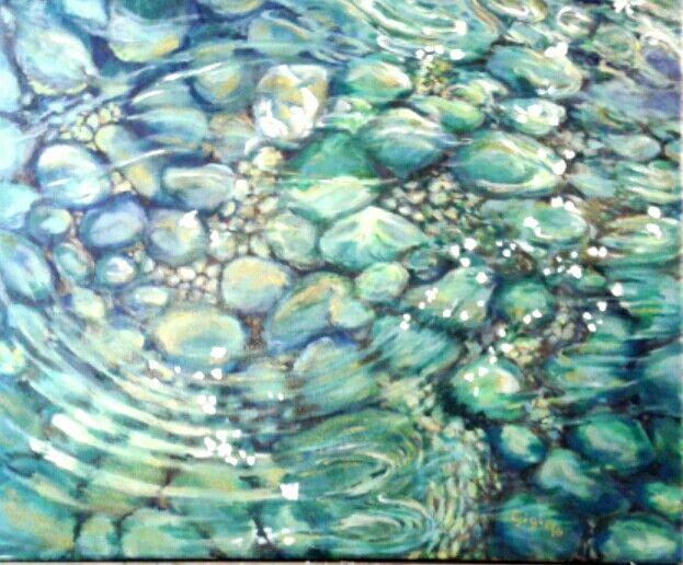 """Óleo sobre lienzo.  """"Agua"""" Dedicado a esta época del año donde apetece meter los pies en esas aguas cristalinas o escuchar su sonido.... Tamaño 30 x 40 cm. En venta"""