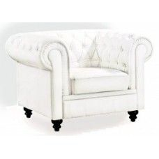 Moderne Chesterfield fauteuil wit
