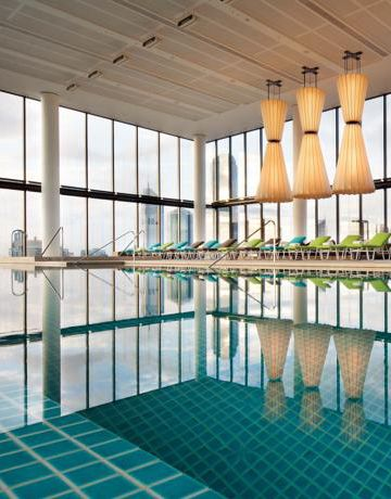 The incredible infinity pool at Crown Metropol looks out over the city of Melbourne.