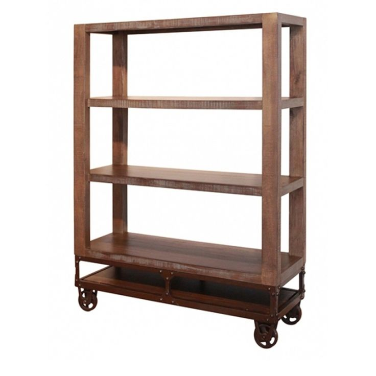 International Furniture Direct Urban Gold 55 Inch Bookcase With 3 Shelves  And Casters