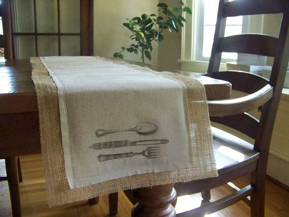 burlap & linen table runner  fork knife spoon  by jennilyons81, $29.99