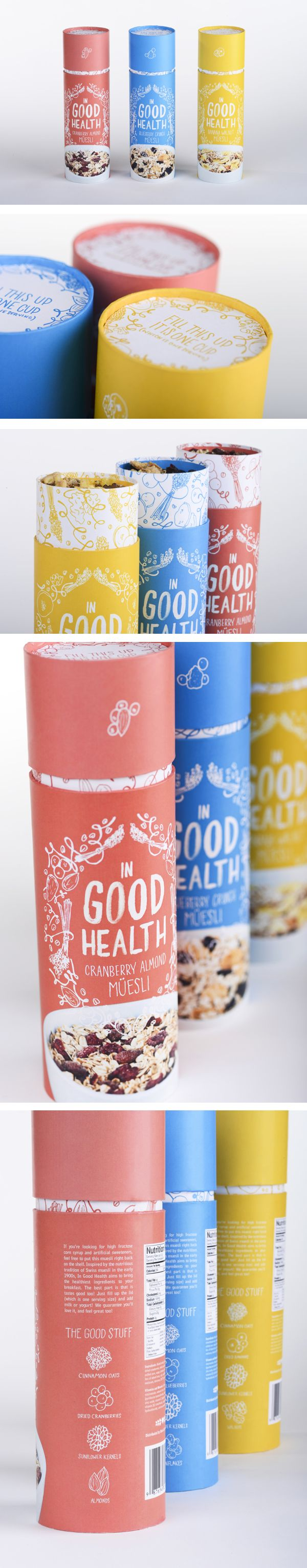 Nice package design for Good Health Muesli | Ashley Hohnstein #packaging #packagedesign