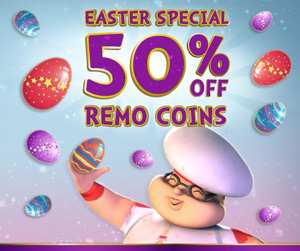 ☆ ★ Easter Sale ☆ ★ To celebrate this egg-cellent season we are taking 50% OFF ALL Remo Coin Bundles! Don't miss out... Ends 7th April 2015 - https://apps.facebook.com/mojikan