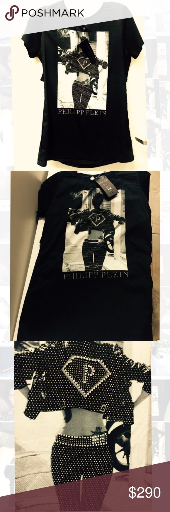 Authentic Philipp Plein bluse-T shirt Absolutely gorgeous!New with tag,Applique made of Swarovski crystals.european size 36 - S size . Made in Italy. Philipp Plein Tops Blouses