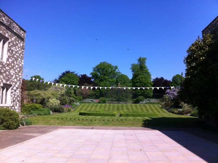 Private Courtyard for use during your wedding celebrations, for drinks, canapes and photos, dressed with bunting.
