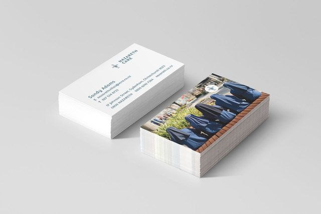 Nazareth Care business cards for Perception PR & Marketing, graphic design by Robertson Creative, Christchurch, New Zealand