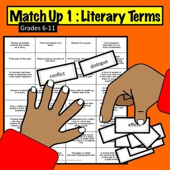 """This Literary Terms Match-Up Game is effective, fun, and can be used over and over in the classroom! Accompanied with an EATS lesson plan and following the Common Core RI.7.4., the """"board"""" gives 28 definitions.  Literary terms included are: Dialogue, Figurative language, Plot Inference, Genre, Suspense, Imagery, Theme, Flashback, Irony, Effect, Omniscient, Point of View, Fiction, Cause, Paraphrase, Retelling, Conflict,  Setting, Climax, Foreshadowing, Predict, Stanza, Tone, Mood, Main idea…"""