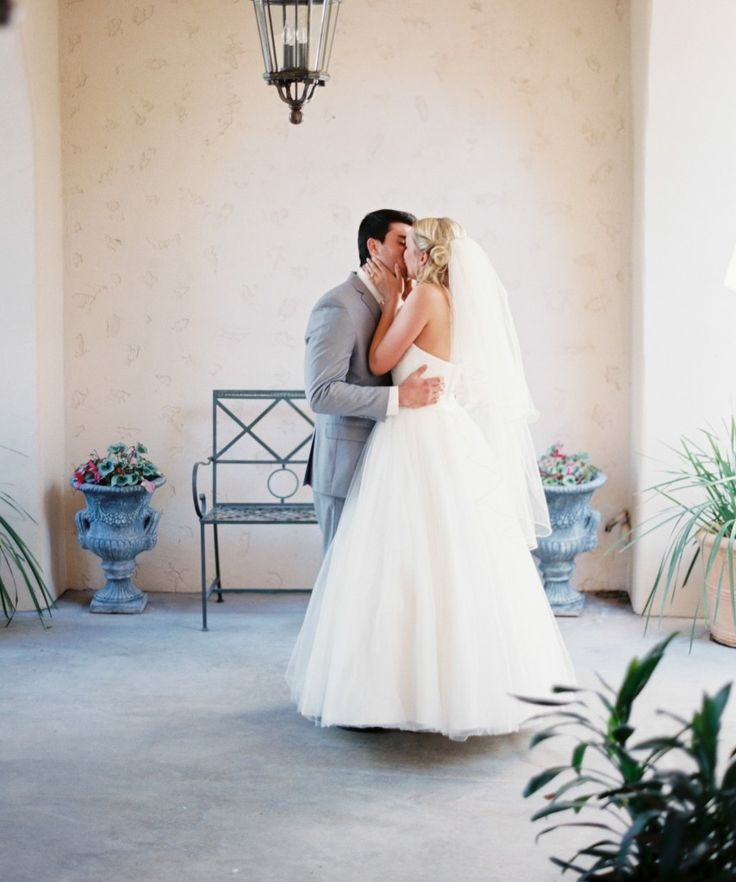 Such a romantic first look kiss! by Brushfire Photography
