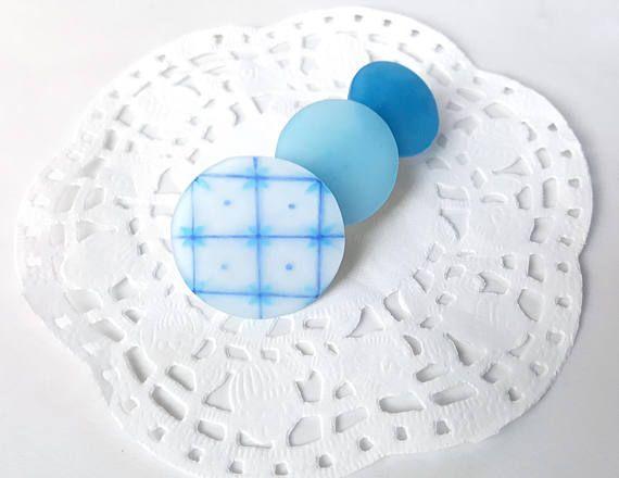 Blue  Circle  gradation color  Hair Clip  Matte / Gross