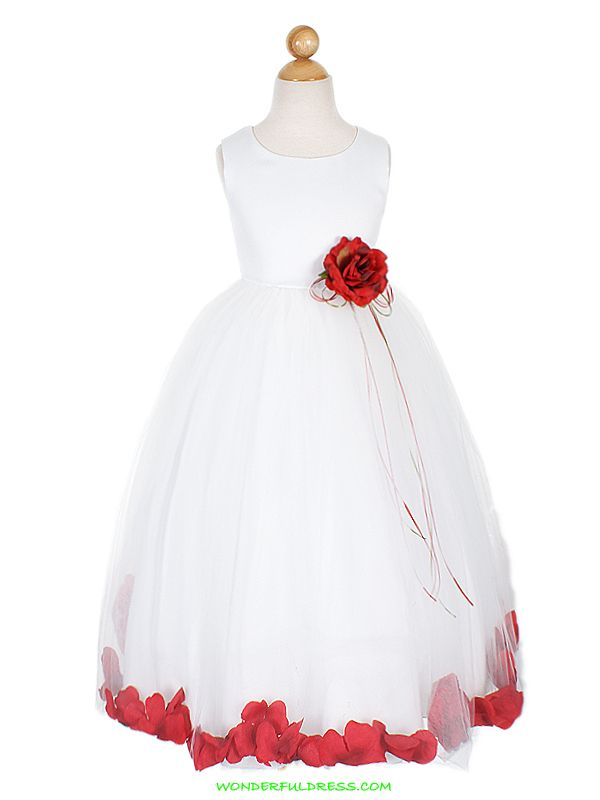Flower girl dress? With turquoise sash and red flower ...
