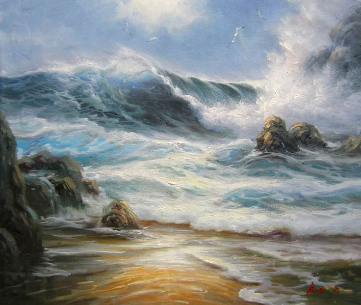 Cheap art glass art, Buy Quality art deco wall art directly from China art tattoo Suppliers: Hand Painted Impressionist Oil Painting Seascape Waves Home Decoration Wall Art Dawn Of The Sea Modern Art Contemporary