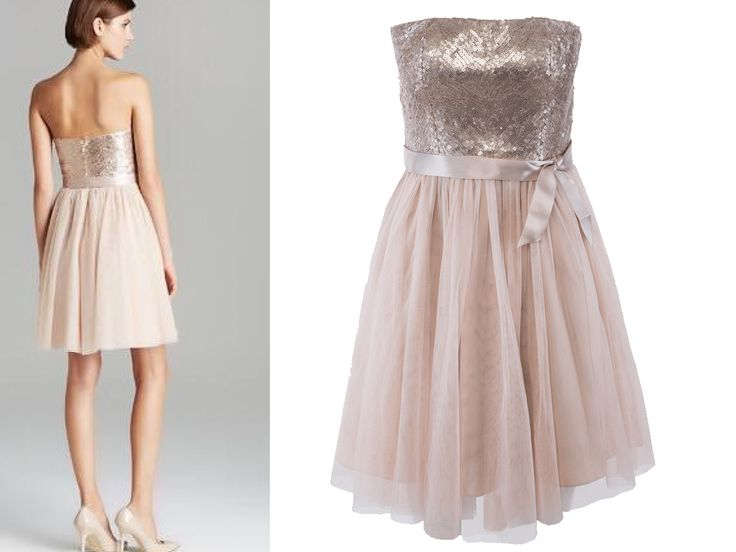 Champagne Strapless Dress 50% off.  Chiffon dovetail Straight neckline Sequin bodice Padded bust Detachable ribbon  Flared mesh skirt Concealed back zipper Lined Fabric: polyester/nylon Dry-clean only