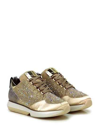 ALEXANDER SMITH LONDON - Sneakers - Women - Sneaker in camoscio, pelle laminata e raso con borchie e strass su tomaia. Suola in gomma, tacco 35, platform 20 con battuta 15. - SABBIA\PLATINO - € 298.00