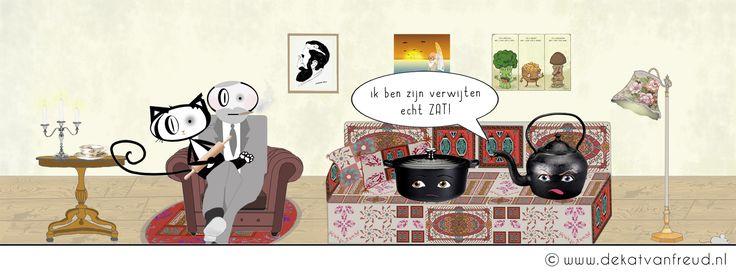 de pot verwijt de ketel ; ) #psychologie #humor #cats #Freud #comic