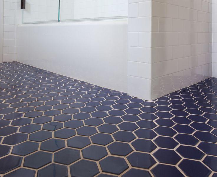 Fireclay Tile   Navy Blue Hex Tile. Bathroom ...