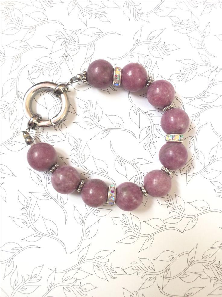Natural stone braclet, Lepidolite braclet, Semi precious stone braclet, gemstone womens braclet, 12 mm lepidolite, Christsmas gift