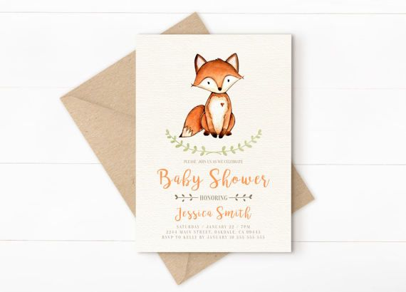 woodland baby shower invitation, woodland baby shower, fall baby shower invitation, Printable Forest invite, woodland boy baby shower, Fox  ·········································  This listing is for a single digital file ONLY, no printed products will be mailed.  W H A T · Y O U · G E T ·········································  ► 5 x 7 Invitation ( Digital File ) ► Invitation will be personalized with your custom text. ► Can be customized for ANY event, and wording is 100% changeable. ►…