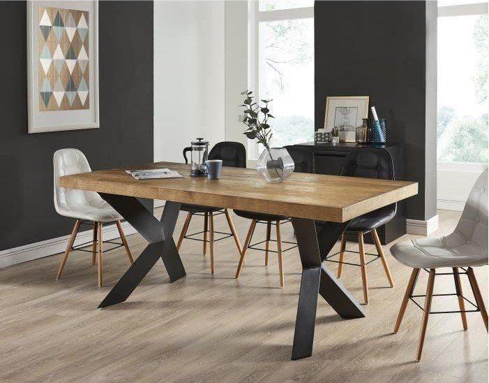 Platon Table A Manger De 6 A 8 Personnes Style Industriel Placage
