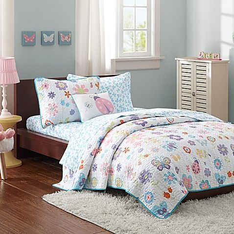 Adorable garden creatures will take you to dreamland with the colorful Mi Zone Kids Fluttering Farrah Coverlet Set. The coverlet is decked out with lovely butterflies, ladybugs, and flowers, and the set comes complete with a pillow sham, sheets, and more.