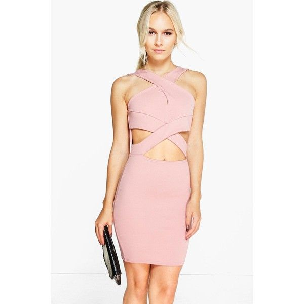 Boohoo Petite Petite Julia Cross Over Detail Bodycon Dress ($26) ❤ liked on Polyvore featuring dresses, antique rose, pink sequin dress, pink dress, pink tuxedo, maxi dresses and bodycon dress