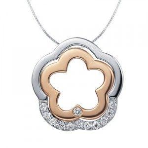 Curvy Circle Flower Shape Diamond Pendant