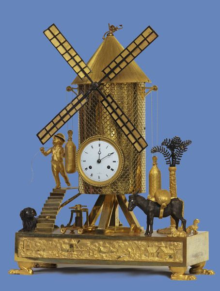 Rare French Patinated and Ormolu Automated Windmill Clock. This and more important fine art for sale on CuratorsEye.com