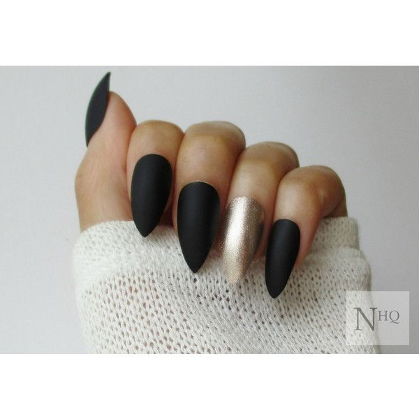 Matte Black Almond Nails ($12) ❤ liked on Polyvore featuring beauty products and nail care