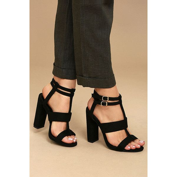 Idalia Black Suede Strappy Peep Toe Heels ($37) ❤ liked on Polyvore featuring shoes, pumps, black, strappy pumps, t-strap peep-toe pumps, t-strap pumps, black peep toe pumps and black strappy pumps
