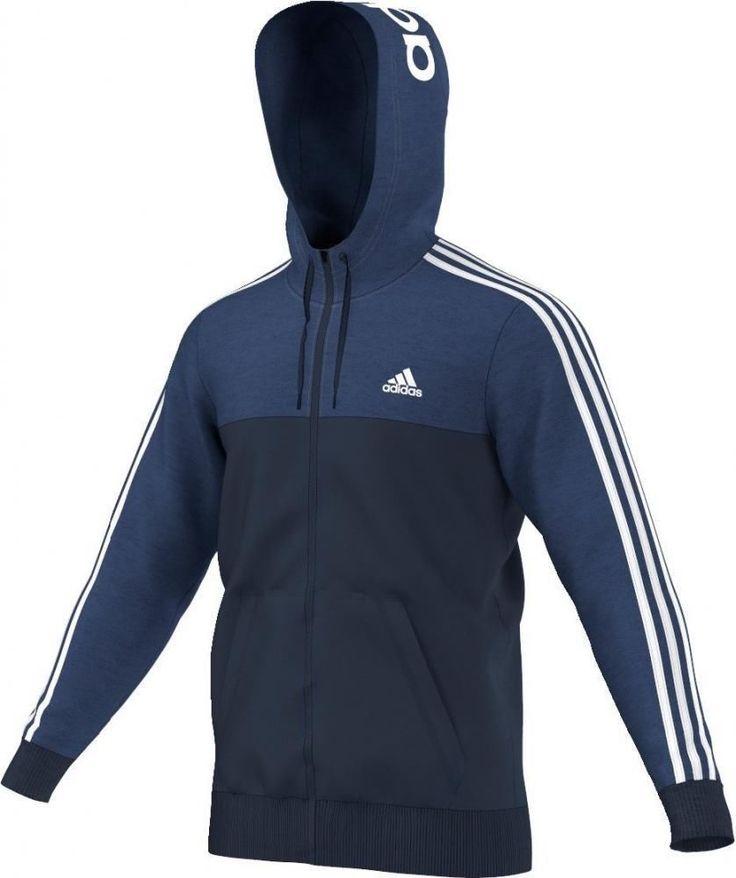 Details about Adidas performance full zip cotton blend blue ...