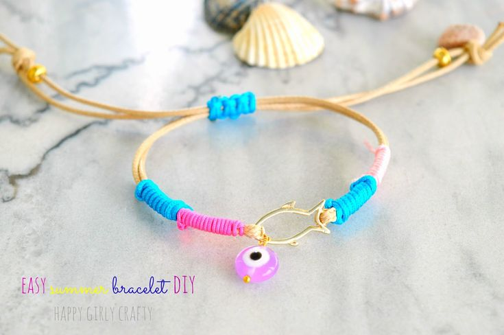 happy girly crafty: Fun and colorful wrapped summer bracelet you can make with kids!
