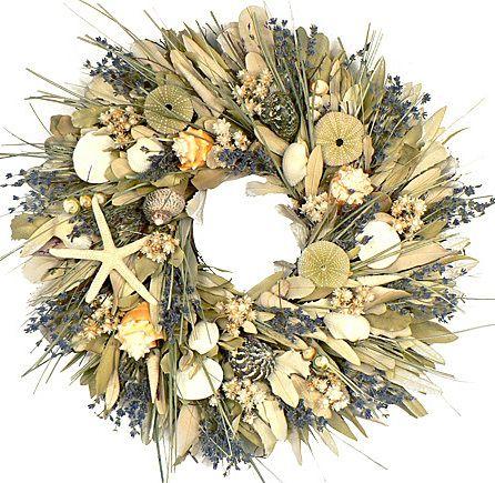 KEY LARGO COLLECTION - SEASHELL WREATH - SUMMER - BEACH -  STARFISH - NAUTICALSeaside Wreaths, Doors Wreaths, Shore Wreaths, Wreaths Wshell, Lavender Shore, Wreaths Beach, Seashells Wreaths, Floral Wreaths, Wreaths Lavender