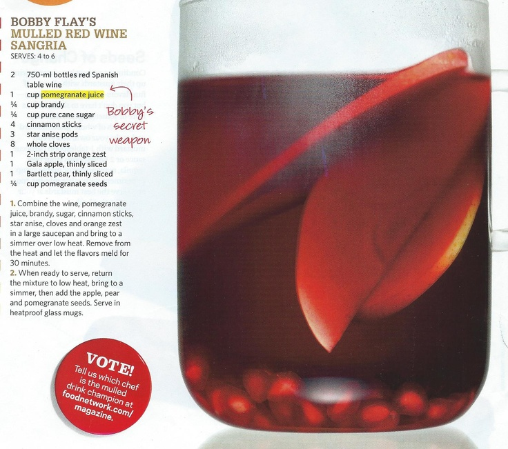 Bobby Flay's Mulled Red Wine Sangria | {Sips & Shots} | Pinterest
