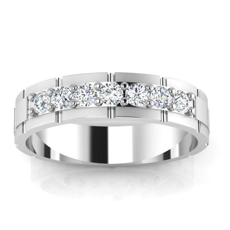 0.36 Ct Natural Diamond Engagement Mens Band 14K White Gold Mens Size Z,U,W