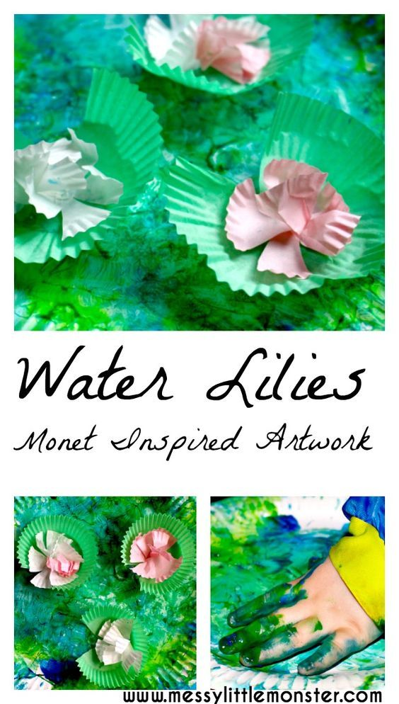 Claude Monet inspired art for kids. A simple paper plate pond craft with water lilies for toddlers and preschoolers. Exploring famous artists.