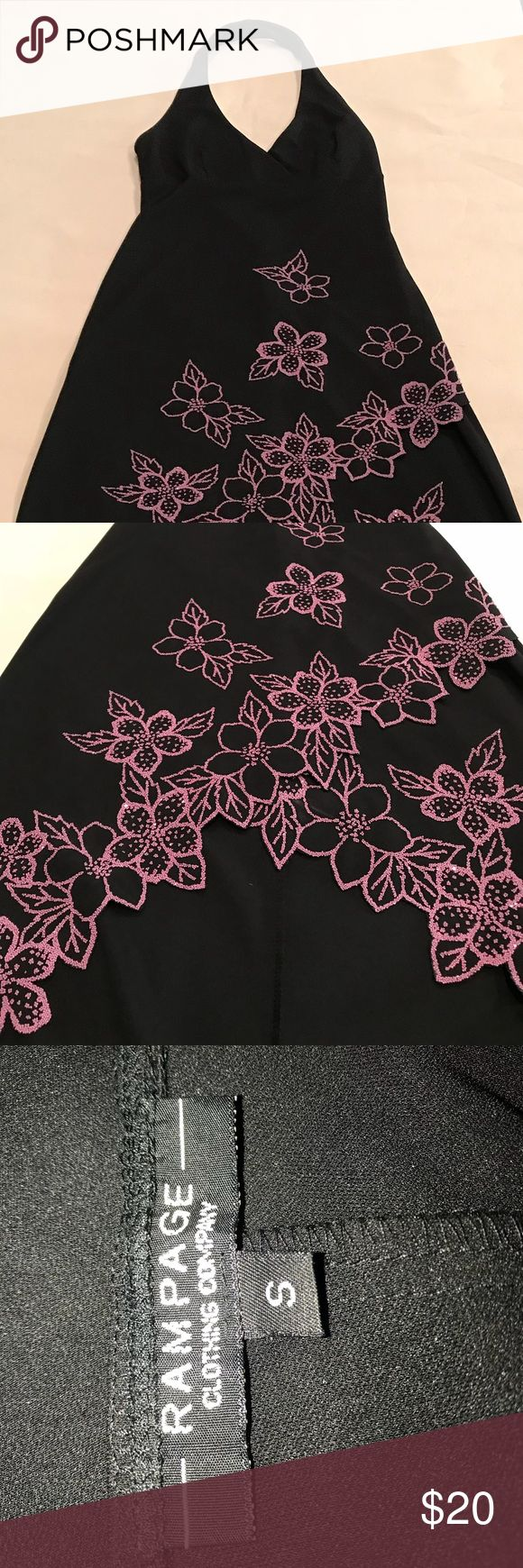 Rampage Dress, Small, Black with pink, EUC Rampage Dress, Small, Black with pink tropical flowers, EUC (worn twice, a few easily removable deodorant spots from just now modeling for pic 😕), halter top, high-low bottom style. Fun dress for cruise or beach party. Rampage Dresses High Low