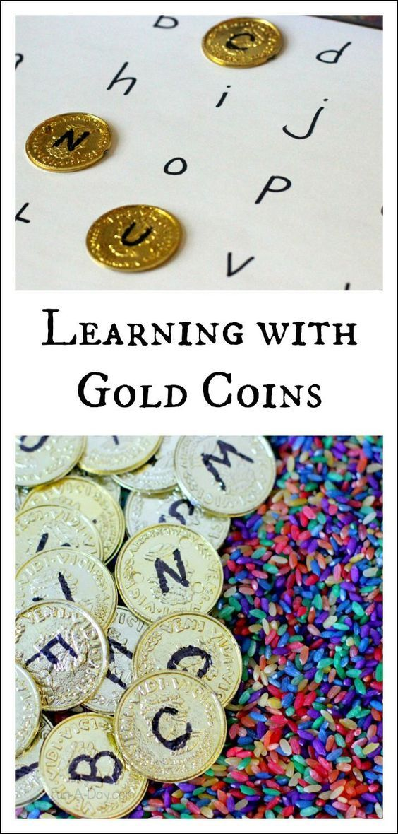Use gold coins in a variety of preschool alphabet activities. They're perfect for St. Patrick's Day, a pirate theme, or just for fun!