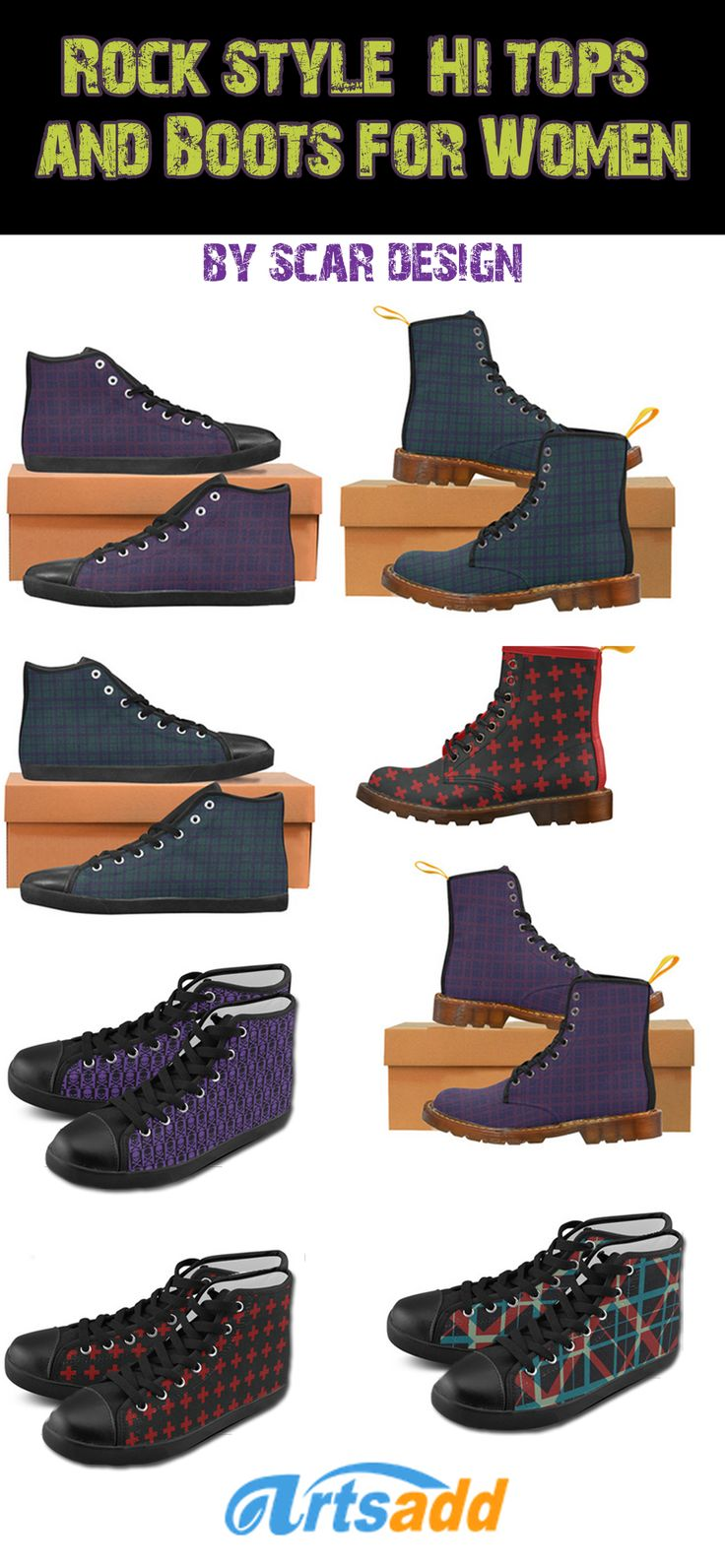 Rock Style Canvas  Hi-Tops & Boots for Women by Scar Design  #canvasboots #shoes #spring #summer #fashion #womansshoes #rockstyle #rock #badassstyle #style #rockstyleshoes #rockboots #rockhitops #sneakers #hitopshoes #scardesign #artsadd