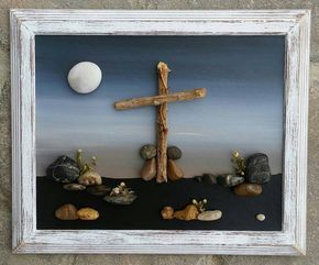 Guijarro, arte, arte rupestre, en la Cruz, dos hermanas, pareja, rogación, Christian Gift, religioso, Jesús Saved, «abierto» marco de 8 x 10 (ENVÍO GRATIS)