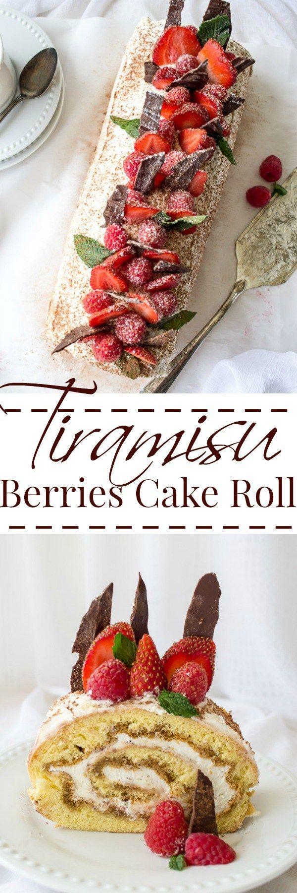 Tiramisu and Berries Cake Roll. ValentinasCorner.com